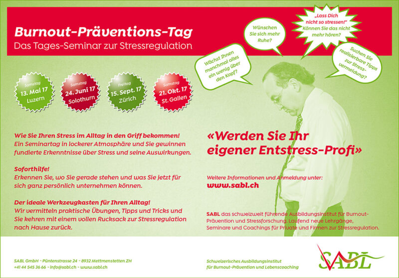 Inserate Kampagne Burnout-Praeventions-Tag