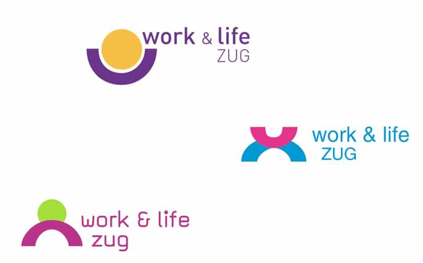 Studien Schriftzug work & life Zug