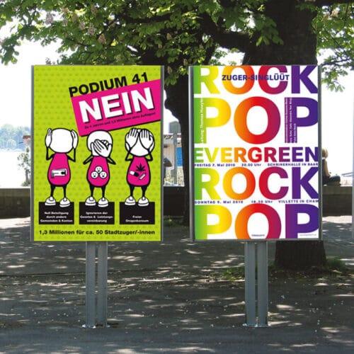 FDP-Abstimmungsplakat und Chor-Konzert