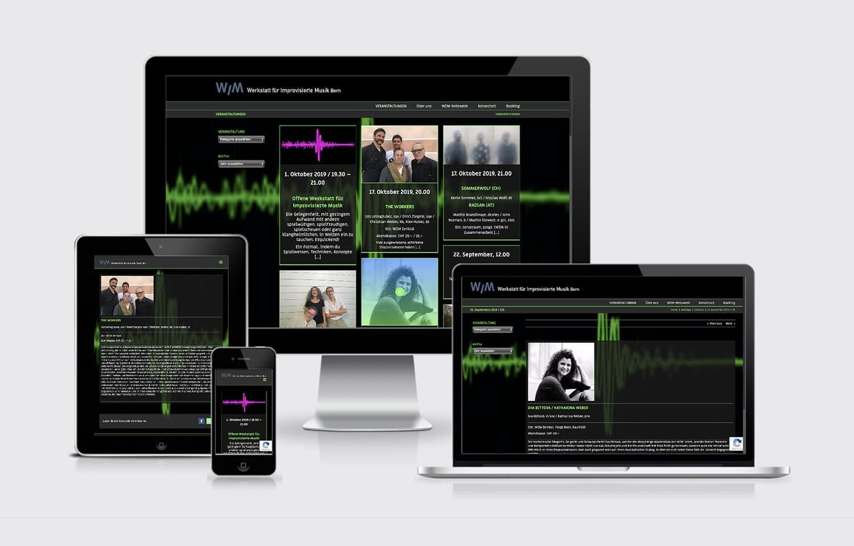 Webdesign responsive WIM Werkstatt für Improvisierte Musik wim Bern
