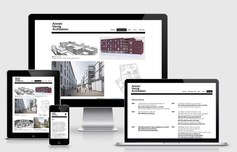 Webdesign AmreinHerzig Architekten, Baar