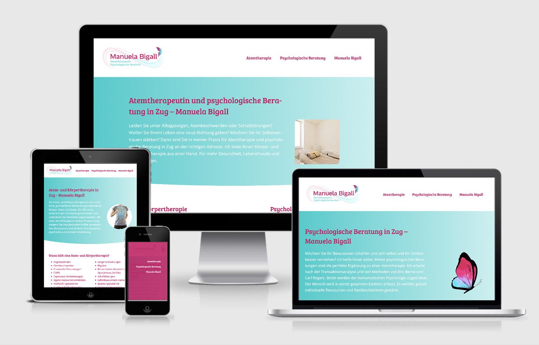Manuela Bigall Atemtherapie, Webauftritt und Logo